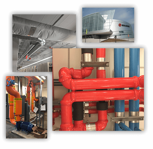 Collage photos of boiler room and plumbing system