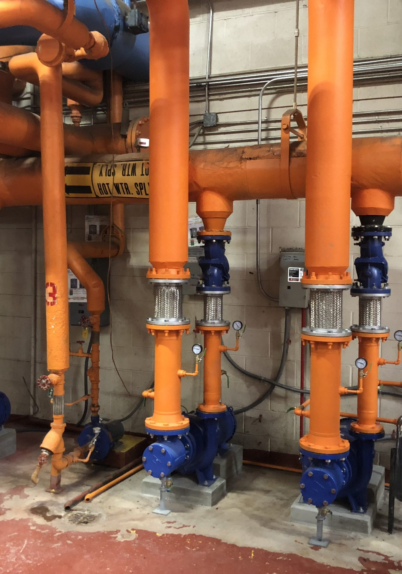 Boiler room with an orange paint
