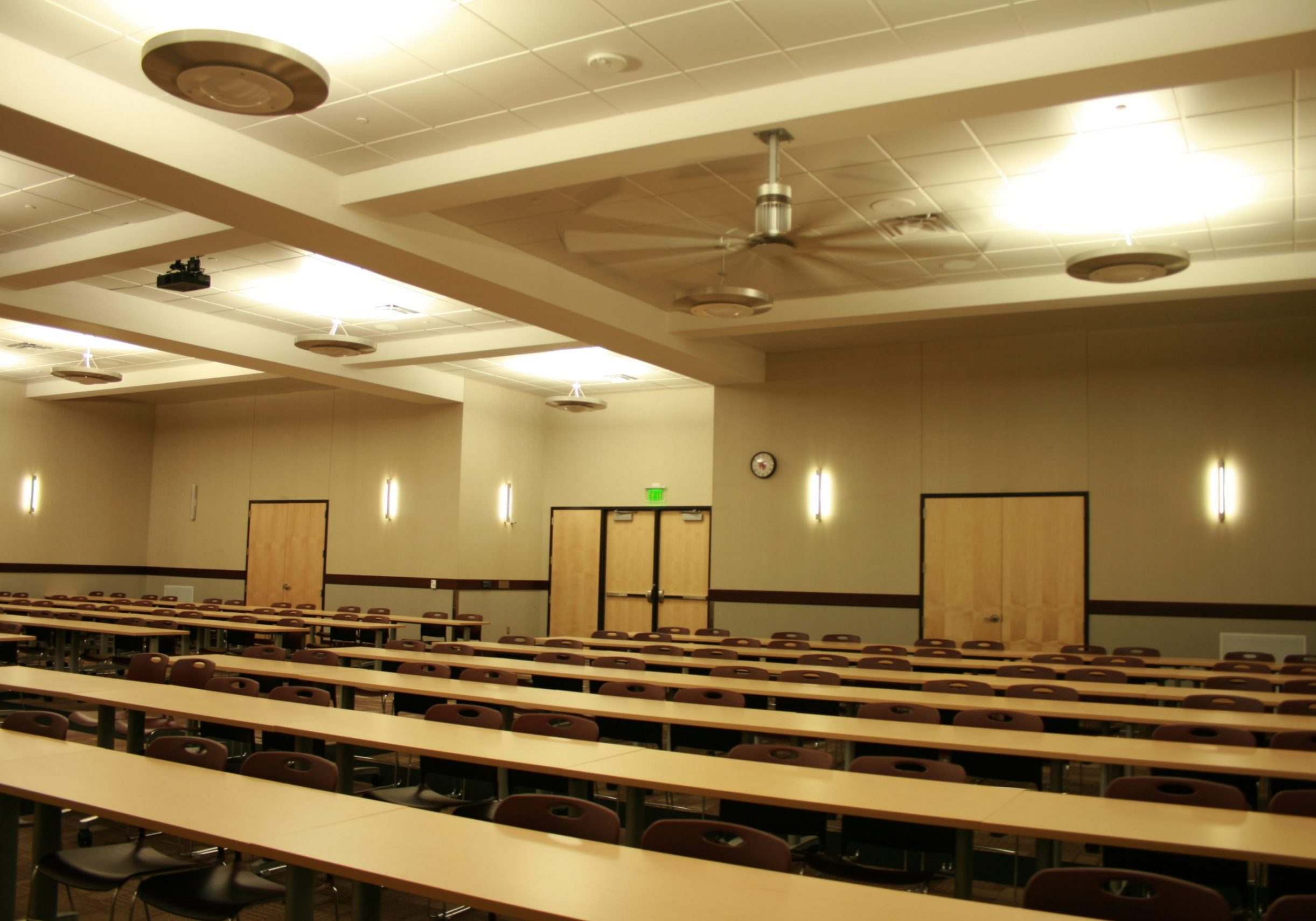 Spacious conference room with bright lights installed